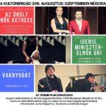 Kultúrbrigád műsor 2016. augusztus–szeptember